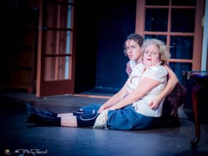 """Hanna Mitchell (as Ida) and Lee Ann Ivy (as the soused Miss Skillon) in Ojai Art Center's manic comedy, """"See How They Run"""" (photo by Kirby Russell)"""