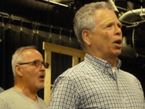 "Paul Panico (left) and Steve Perren (right) at rehearsal for Panic! Productions' ""Parade"""